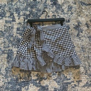 Checkered wrap skirt